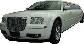 White Chrysler limo for hire, School Proms, Birthday celebrations and anniversaries. Cars for Stars (Guildford)